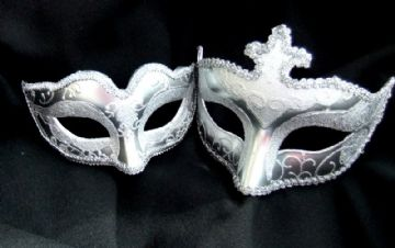 His & Hers Silver Glitter Masks